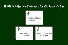 Speech Therapy Ideas: 15 Fill In Adjective Sentences for St. Patrick's Day. Pinned by SOS Inc. Resources @SOS Inc. Resources.