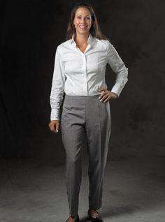 Ladies Gabardine Trousers in Charcoal Grey