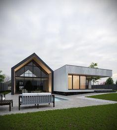 Private house on Behance Modern Barn House, Modern House Plans, Modern House Design, Contemporary Design, Roof Architecture, Modern Architecture House, Facade House, House Roof, Courtyard House