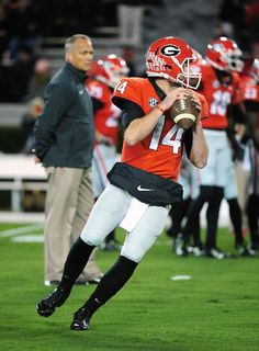 ATHENS, GA - NOVEMBER 15: Hutson Mason #14 of the Georgia Bulldogs warms up before the game against the Auburn Tigers at Sanford Stadium on November 15, 2014 in Athens, Georgia. (Photo by Scott Cunningham/Getty Images)