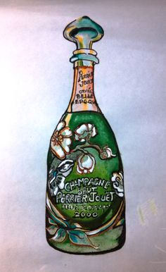 My wife's painting of our most favorite bottle of champagne: Perrier-Jouet