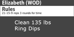 Check out the Elizabeth #wod and get involved with #crossfit training.  http://www.dsstuff.com/crossfit-workouts-of-the-day/