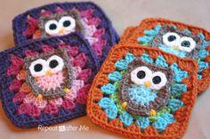 Lindos cuadritos tejidos a crochet con buhitos http://www.repeatcrafterme.com/2012/11/owl-granny-square-crochet-pattern.html