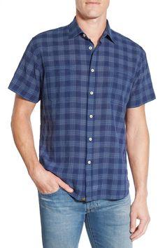 'Donelson' Standard Fit Short Sleeve Grid Sport Shirt
