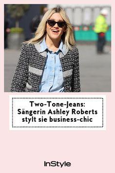 Two-Tone-Jeans wirken nicht edel? Von wegen! Sängerin Ashley Roberts trägt einen Look, der auch im Business funktioniert. #instyle #instylegermany #jeans #business #look
