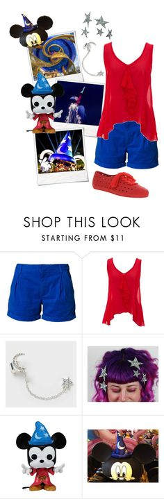 """Sorcerer Mickey Mouse from The Sorcerer's Apprentice segment in Fantasia ~ Disney Parks ready"" by disneydazzle ❤ liked on Polyvore featuring Polaroid, Disney, Bench, INDIE HAIR and F-Troupe"