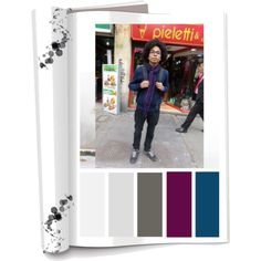 Paleta de color: Los tejidos y los tonos neutros buscan un contraste de colores mas vivos(Negro,gris,azul,morado)  Ropa: chaqueta,bufanda,jeans y tenis. Accesorios: Maleta. Es tranquilo y amable