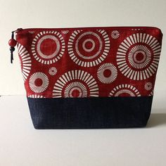 Red White and Blue Quilted Zippered Bag, Crochet Project Bag, Knitting Project Bag, Large Cosmetic Bag by Clothstitched on Etsy