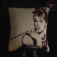 #Audrey Hepburn patterned hand knitted #pillow by bibu atelier
