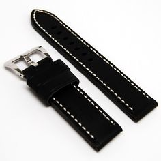 558806cc0d4 LUX Panerai Style Strap Black Italian Calf Leather Watch band with Contrast  Stitching