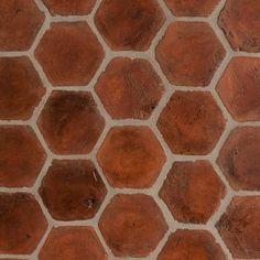 Spanish Terracotta Tiles Stained Light Walnut Mediterranean Floor