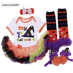 >> Click to Buy << My First Halloween Baby Girl Clothes Witch Hat Baby Lace Dress Headband & Legwarmers Shoes Newborn Tutu Set Vetement Bebe Fille #Affiliate