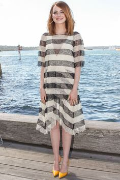 Emma Stone At The 'The Amazing Spider-Man Rise Of Electro' Film Photocall, Sydney Harbour Emma Stone Casual, Emma Stone Style, Brian Atwood, Elie Saab, Stilettos, Lanvin, Celebrity Outfits, Celebrity Style, St Style
