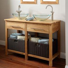 "Bathroom Vanity No Faucet Holes 48"" acerra teak double console vanity 2"" drain cutouts no faucet"