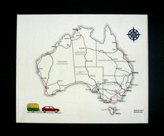 Australia Travel Embroidery Kit  Fabric map to by TravelEmbroidery #travel #theartoftravel