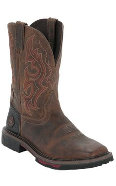 Justin® Hybred™ Men's Rugged Tan Composite Square Toe Western Work Boot | Cavender's Boot City