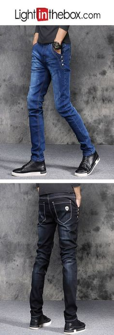 019beead23a   19.80  Men s Cotton Slim Skinny   Slim   Jeans Pants - Solid Colored Blue    Weekend