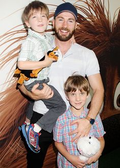 Chris Evans attends The Secret Life of Pets premiere with his nephews, Ethan and Miles, in New York City