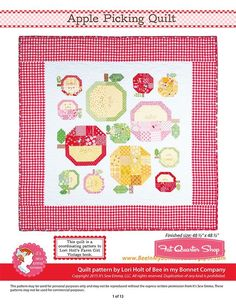 Apple Picking Downloadable PDF Quilt Pattern<BR>Bee in my Bonnet