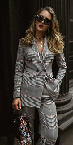 ShopStyle Look by maryorton featuring Le Specs - Rapture Cat-eye Acetate Sunglasses - Black and Laura Mercier Velour Extreme Matte Lipstick Blazer Fashion, Suit Fashion, Fashion Outfits, Womens Fashion, Nyc Fashion, Style Fashion, High Fashion, Looks Street Style, Looks Style