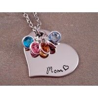 Mom Heart Birthstone Necklace - Mixed Metal for Moms - Hand Stamped Necklaces - Necklaces at Sweet Blossom Gifts