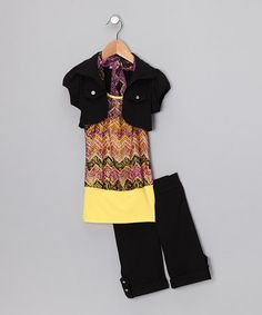 Take a look at this Yellow & Purple Zigzag Shorts Set  - Toddler & Girls by Citlalis Choice on #zulily today!
