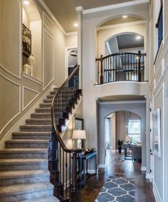 Modern Staircase Design Ideas - Browse photos of modern stairs and also find des. - Home Design Villa Plan, Grand Staircase, Staircase Design, Curved Staircase, Foyer Decorating, Interior Decorating, Decorating Games, Modern Stairs, Deco Design