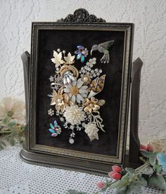 Art Jewelry Framed Garden Theme Pearls Rhinestone by VintageRedo