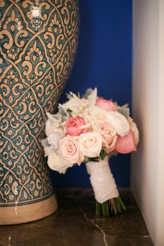 """Pink and White Rose Bouquet .... will now most likely be our wedding flowers, because peonies arnt going to be in season. IT""""S STILL BEAUTIFUL THOUGH! LOVE IT!"""