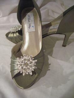 b9f5283051f14c Wedding Shoes Sage Green Wedding Shoes Bridal Shoes with Rhinestone Flower  Burst Additional 100 Col Sage