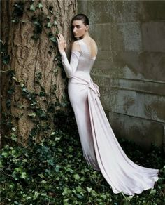 Beautiful flattering long sleeves off-white gown