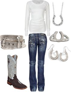 """""""Rhinestone Cowgirl"""" by ashleyelliott-1 on Polyvore don't need the boots, ill take the belt and the jeans Rodeo Wear WooHoo"""