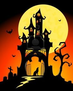 Black halloween castle and moon. Vector cartoon illustration. Stock Photo - 10569755