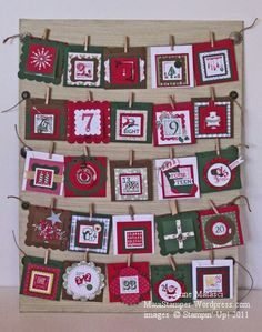 "Advent Calendar idea using Stampin' Up! ""25 & Counting"" stamp set."