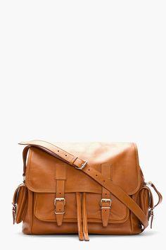 SAINT LAURENT Medium Tan Leather Rock Sac Messenger Bag
