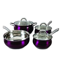 Oster 7 Piece Verdone Cookware Set with Metallic Purple Exterior, Stainless Steel Purple Kitchen Accessories, Jewelry Accessories, Kitchen Cookware Sets, Classic Kitchen, Pots And Pans Sets, Scandinavian Kitchen, Stainless Steel Kitchen, Kitchen Colors, Kitchen Styling
