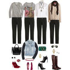 One Wardrobe Piece Styled Four Ways: Slim Black Pant by aggregatefloss, via Polyvore