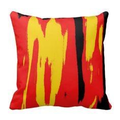 Rétro art déco abstrait rouge jaune noir oreiller