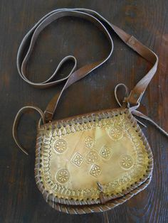 leather bag belt begdecorated with brass foil by Syama on Etsy, $70.00