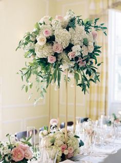 Oversized hydrangea, peony and rose centerpiece: http://www.stylemepretty.com/2017/01/06/indoor-garden-party-wedding/ Photography: Laura Gordon - http://lauragordonphotography.com/