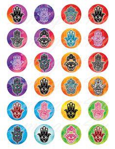 Hamsa Hand round Digital Collage Sheet boho charm bottle cap