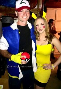 Cute Ash and Pikachu Couple Costume… Coolest Halloween Costume Contest