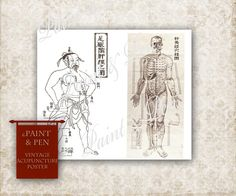 16x20 Medical Reference Poster - Ancient & Modern Acupuncture Models Medical Charts Human Body Samurai Ancient Chinese Medicine DIGITAL Art by PAINTandPEN on Etsy https://www.etsy.com/listing/180458874/16x20-medical-reference-poster-ancient