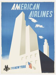 Poster, American Airlines to New York, ca. 1948 | j3nx | Visits | Collection of Cooper Hewitt, Smithsonian Design Museum