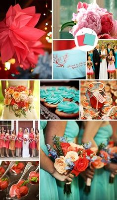 Love the look of the green/blue with coral flowers  Pretty Palette- for more great #wedding color inspiration visit http://www.brides-book.com