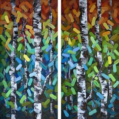 """""""The Dance I and II"""" (Diptych) 2×24″x48″ Contemporary Abstract Landscape Artist Melissa McKinnon features BIG COLOURFUL PAINTINGS of Aspen & Birch Trees, Rocky Mountains and stunning views of the Canadian prairies, big skies and ocean beaches. Be the first to hear about NEW PAINTINGS, works in progress and news from my studio, Sign Up For MyMonthly EMAIL NEWSLETTER! http://eepurl.com/rqj-L  Website & Blog: www.melissamckinnon.wordpress.com"""