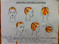 beachball hair colour technique | Blockcolor pattern for Kaysha's color. Beach ball design.
