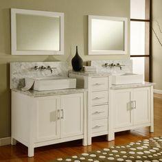 Direct. Vanity Sink 84-inch Horizon Pearl White/ Carrera Marble Double Bathroom Vanity Sink Console