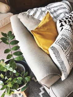 I have this thing with textiles + throw pillows Especially mustard pillows and mud cloth design & mixed in greenery ✨ #apartmenttherapy #apartmentstyle #smallspaces #apartmentlivingroom #sodomino #howwehome #myhomestyle #homedecor #decorinspo