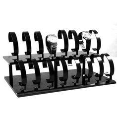 Black-2-Tier-Bracelet-Wrist-Watch-Bangle-Jewelry-Display-Stand-Rack-Holder